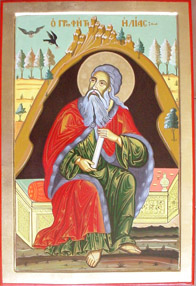 Prophet Elijah in the cave, hand-painted icon by Ustinian Tilov